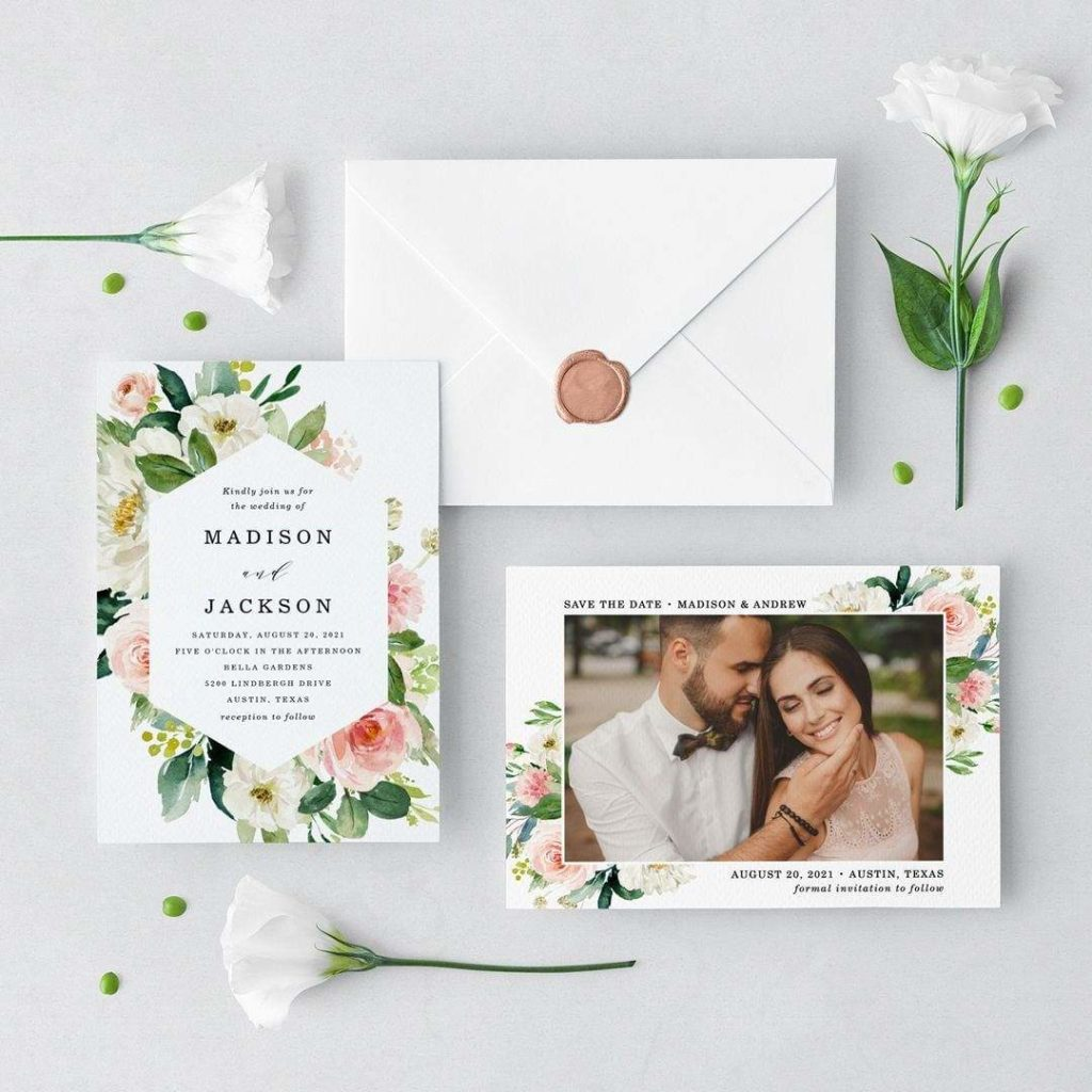 Elegant Spring Floral, Geometric Border of White and Pink Blush Watercolor Flowers and Lush Green Leaves