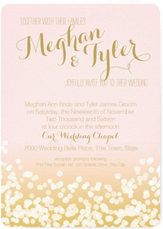 Elegant Blush Pink and Gold-Tone with a Sprinkle of Shimmery Dots  wedding invatation