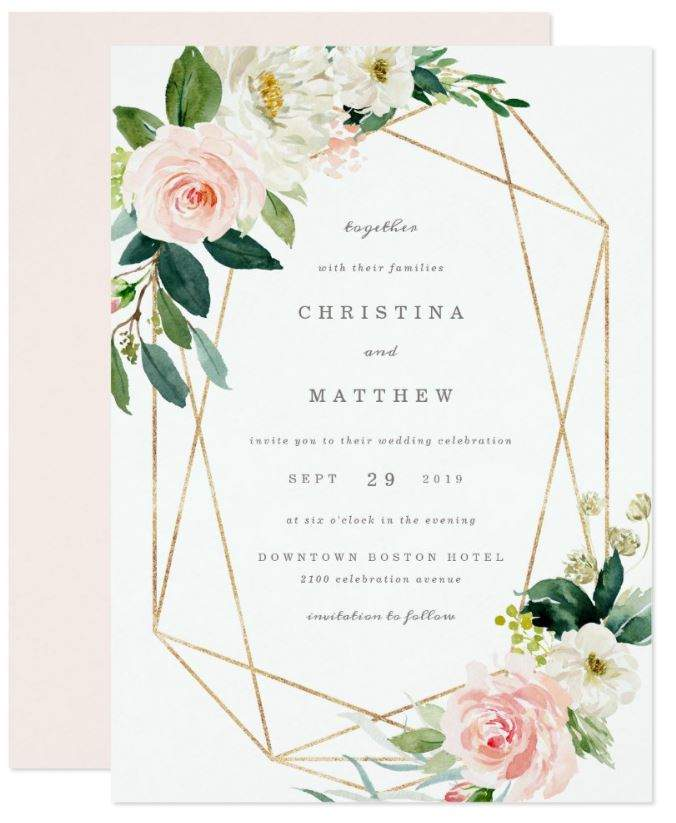 Modern and Romantic Pink Blush Floral Design Featuring Faux Gold Geometric Lines