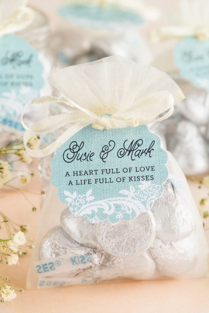 Wedding Favors Under $1 DIY Life Full of Kisses: Burlap and lace scallop tags in color: Sea Glass, Hershey's Kisses, Tiny Ivory Organza Bags.