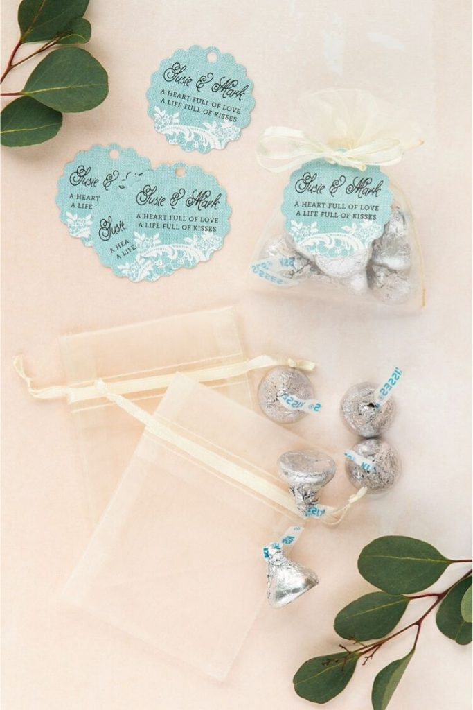 Wedding Favors Under $1 Burlap and lace scallop tags in color: Sea Glass, Hershey's Kisses, Tiny Ivory Organza Bags.