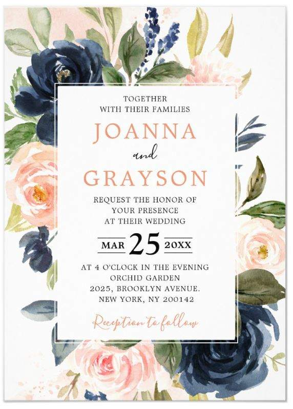 Modern Geometric Floral Graphics with Navy Blue and Blush Pink Roses