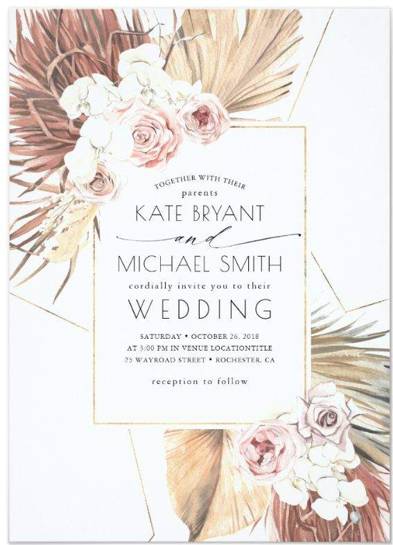 Romantic Blush Pink Wedding Invitations - Ideas and Inspirations.  Tropical Dried Palm Leaves, Pampas Grass & White Orchids Wedding Invitations