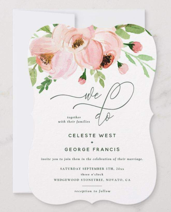"""""""We do"""" Beautiful Script Calligraphy, Pink Blush Floral Watercolor Wedding Invitation"""