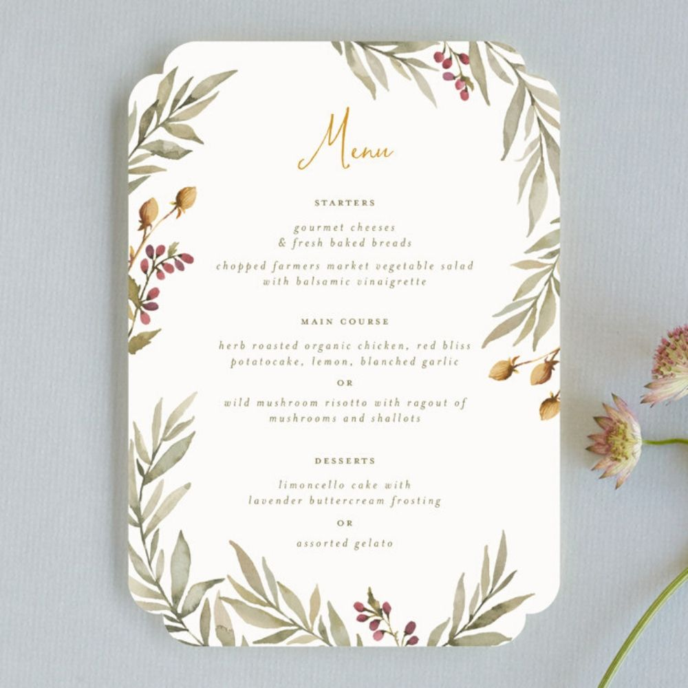 Elegant Wedding Menu Cards, Greenery Olive Leaves With Sunflower Colored Typography