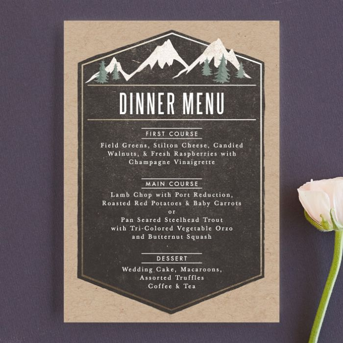 Rustic Elrgant Wedding Menu Cards, Snowy Mountain Tops Against Charcoal Background