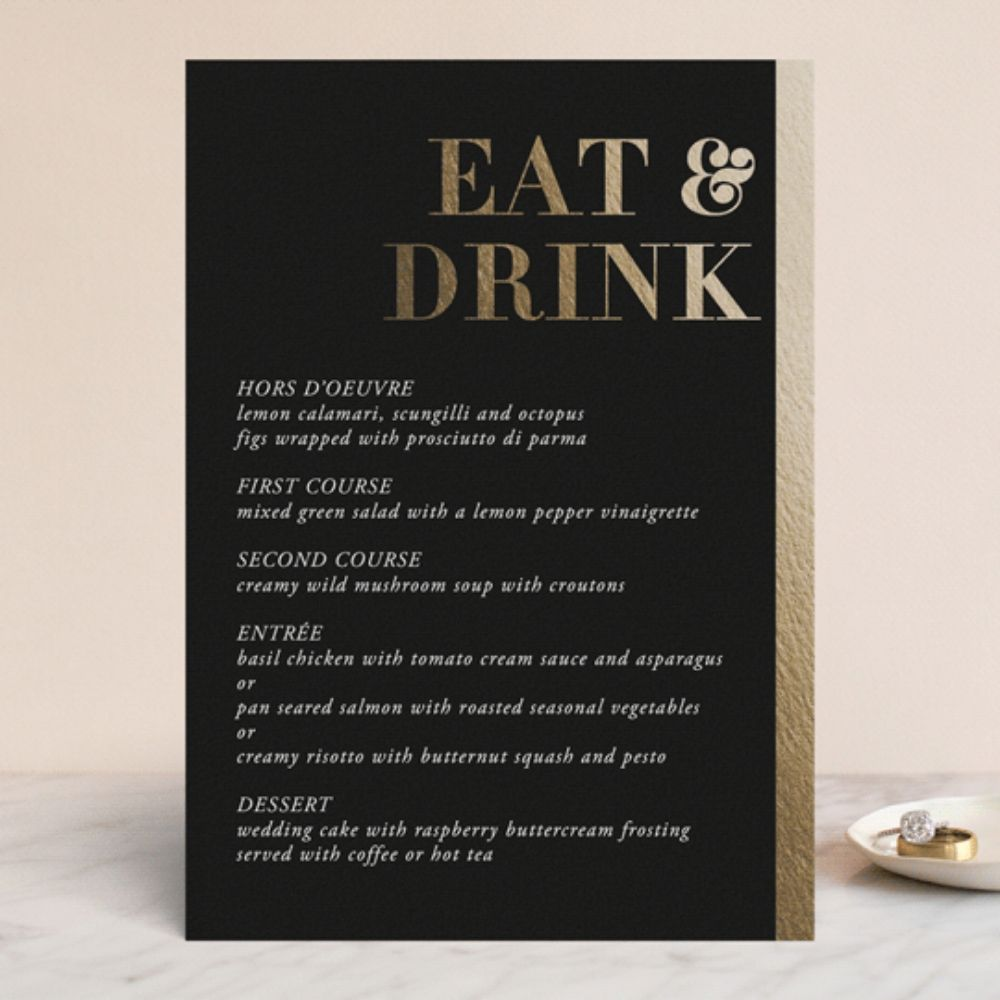Elegant Wedding Menu Cards, Stunning Headlines in Gold Real Foil and a White Text Over a Black Noir Background