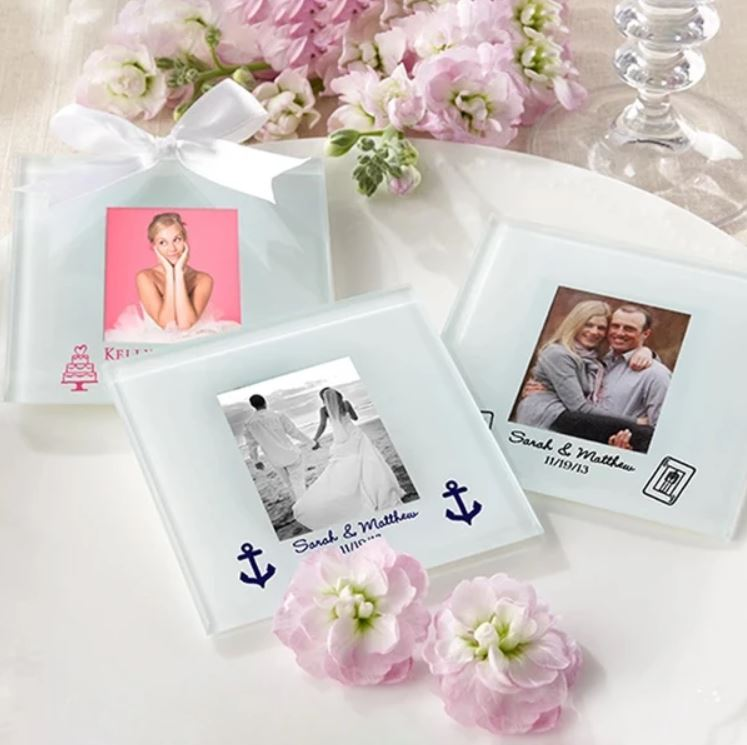 Personalized Frosted-Glass Photo Coaster Beach Wedding Nautical Themed Favors