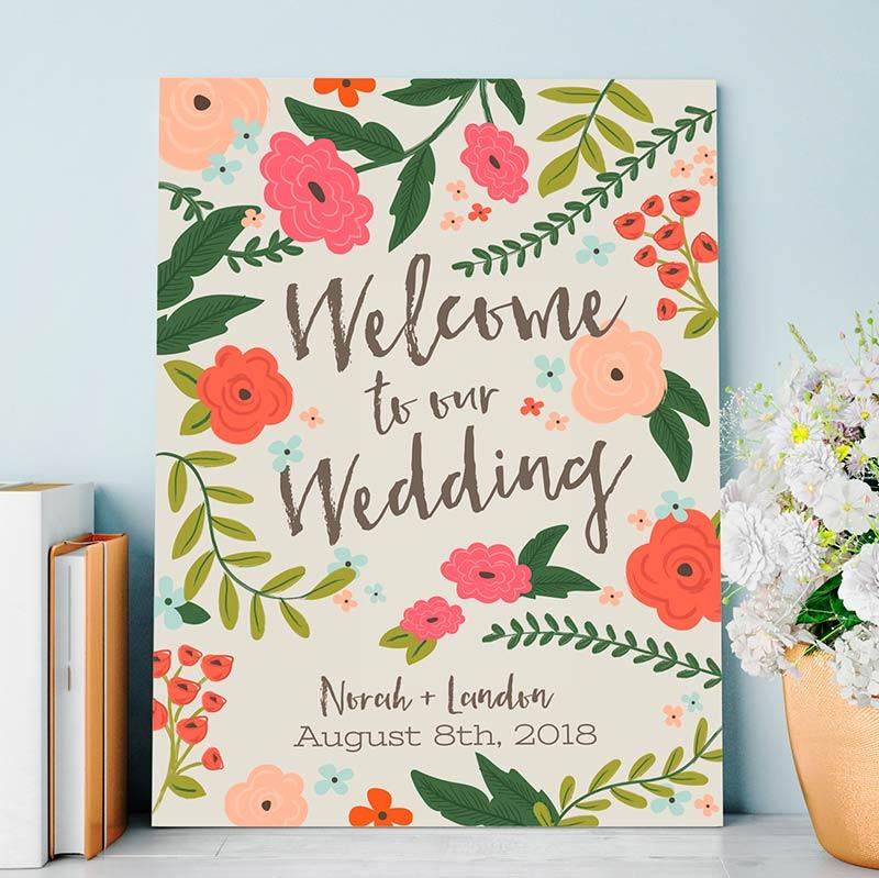 Vintage Wedding Sign colorful floral design '60s and '70s hippie boho welcome sign
