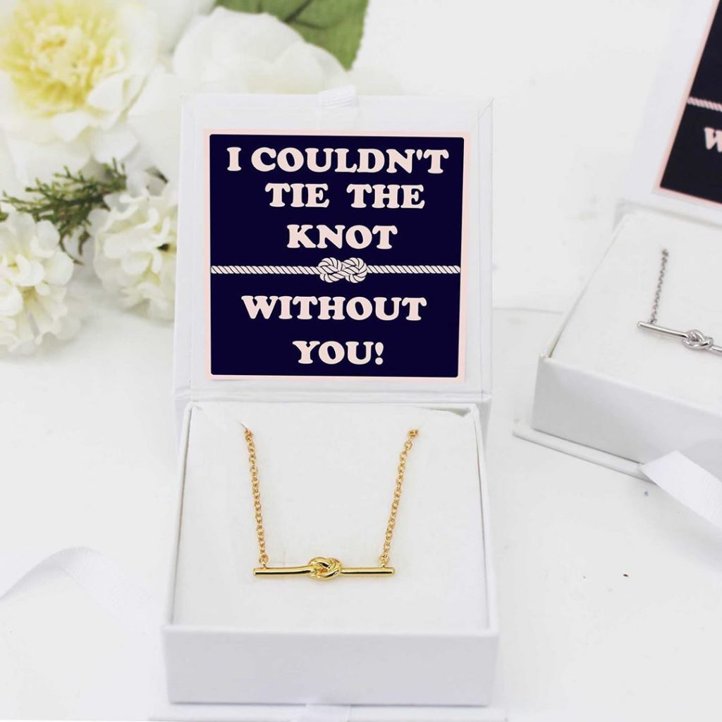 Will You Be My Bridesmaid Box Contents, Tying the knot Necklace