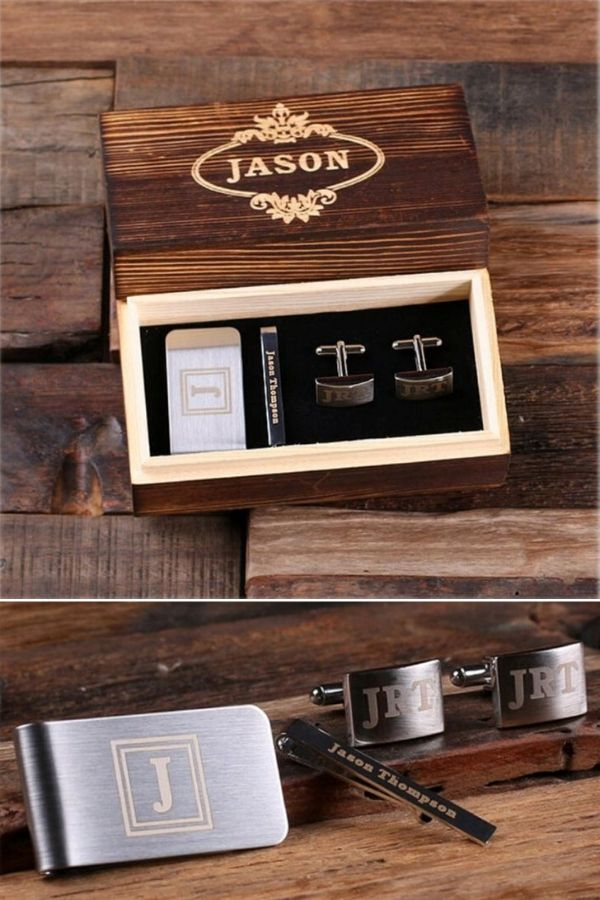 Non-Alcoholic and Useful Gifts Ideas for your Groomsmen Proposal, Engraved Cufflink Set with Tie Bar and Money Clip