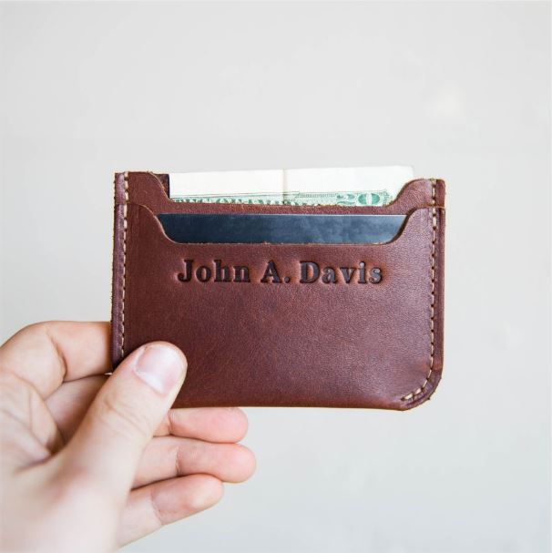Non-Alcoholic and Useful Gifts Ideas for your Groomsmen Proposal, The Bradford Front Pocket Double Sleeve Leather with Initials or Name.
