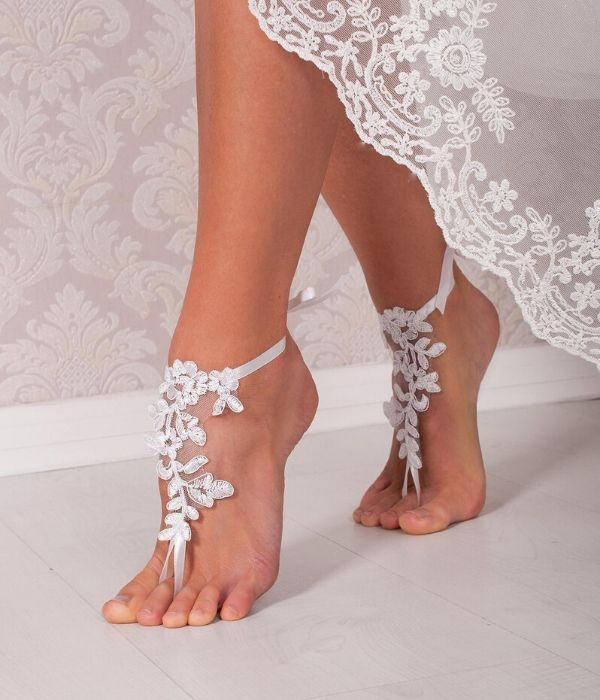 Boho Beach Wedding Shoes, Delicate Lace and Satin Ribbon Footless Sandals