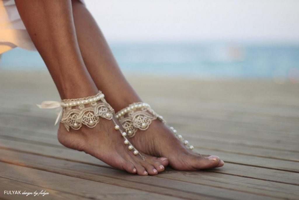 Dance of the Pearls - Boho chic Beach Barefoot Sandals