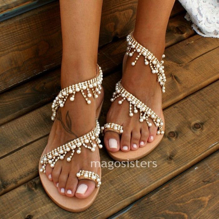 Boho Beach Wedding Shoes, Greek Lather Wedding Sandals - Pearls and Sparkling Crystals