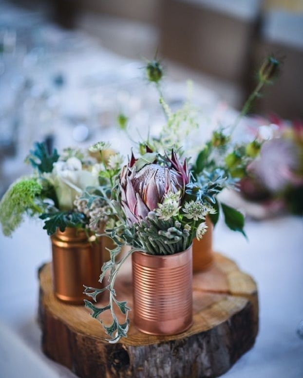 DIY Backyard Wedding Decorations On a Budget copper Tin Cans Centerpieces