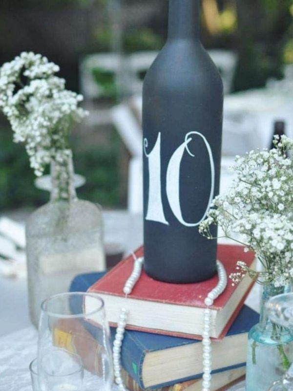 DIY Backyard Wedding Decorations On a Budget table numbers design of Matt black glass bottles and white Acrylic Paint