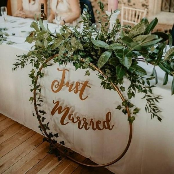 DIY Backyard Wedding Decorations On a Budget Hoops for Bride and Groom Table Decor