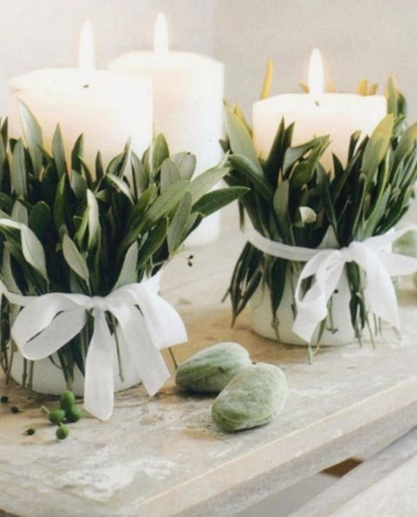 DIY Backyard Wedding Decorations On a Budget Table Setting candles decorated with greenery