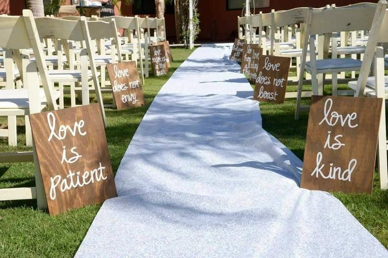 DIY Backyard Wedding Decorations On a Budget Signs for Aisle decorations