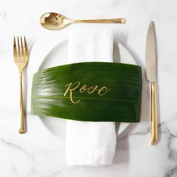 DIY Backyard Wedding Decorations On a Budget Leaves Place Cards