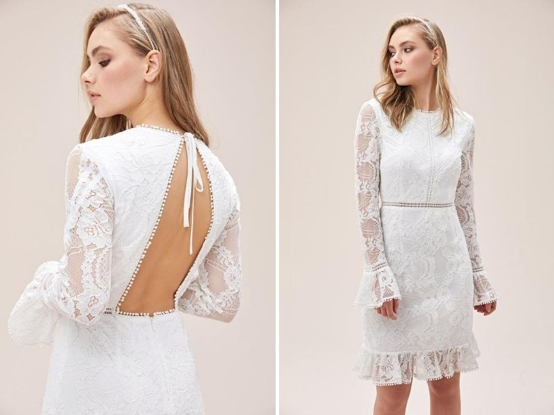 wedding Short Dresses with Long Sleeves, White Embroidered Lace Wedding Dress