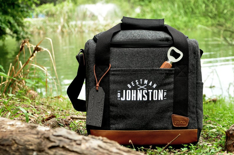 Non-Alcoholic and Useful Gifts Ideas for your Groomsmen Proposal, Personalized Can Cooler Gift Bag