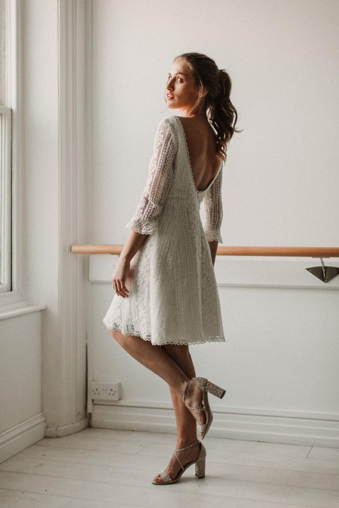 wedding Short Dresses with Long Sleeves, English Cotton Lace and Bamboo Silk Dress