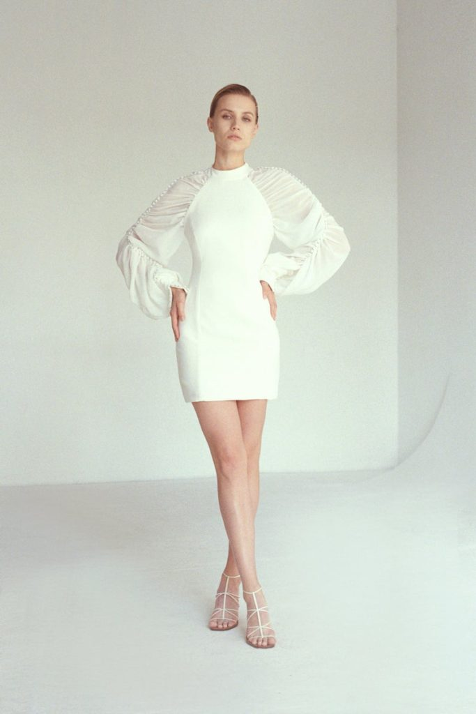 wedding Short Dresses with Long Sleeves, Stylish Wedding Short Dresses with Puffy Long sleeves