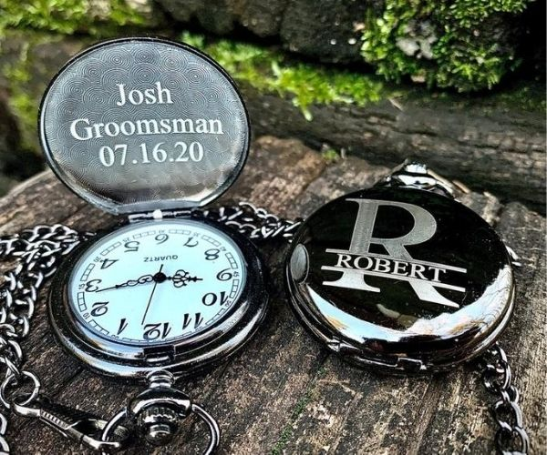 Non-Alcoholic and Useful Gifts Ideas for your Groomsmen Proposal, Engraved Pocket Watch