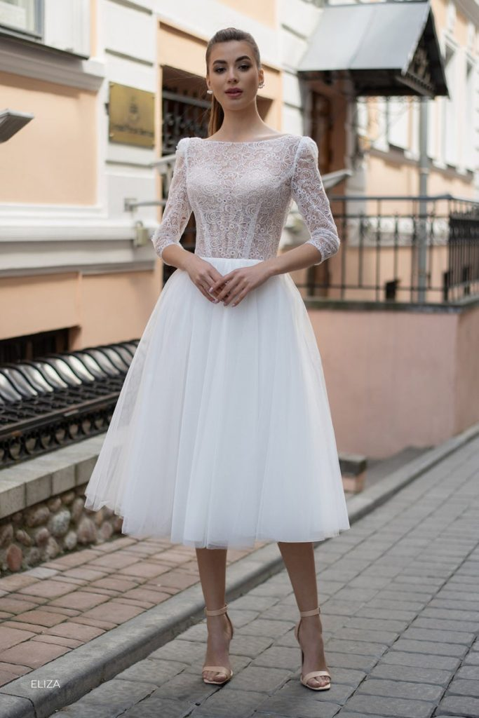 wedding Short Dresses with Long Sleeves, Modern Ivory Wedding Gown