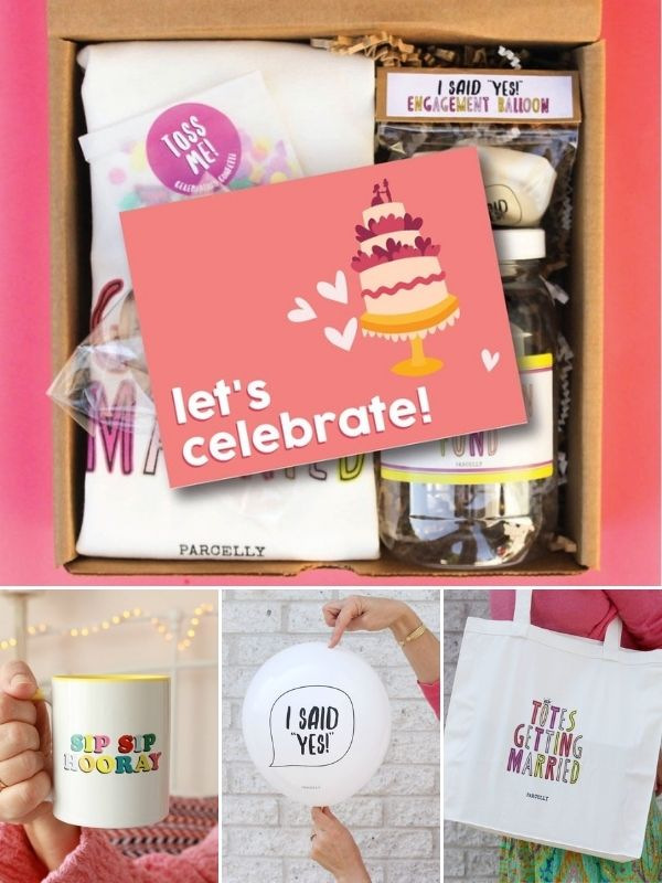 Celebratory Gift Package Engagement Gift Basket for Couples