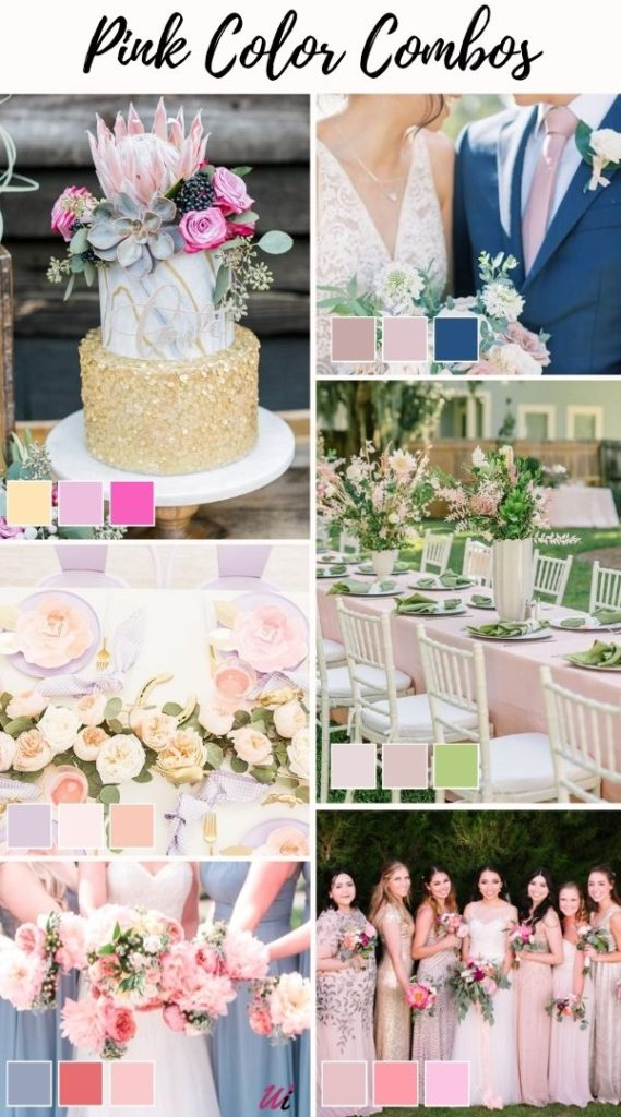 romantic pink spring wedding color combos, Color palette and scheme guide