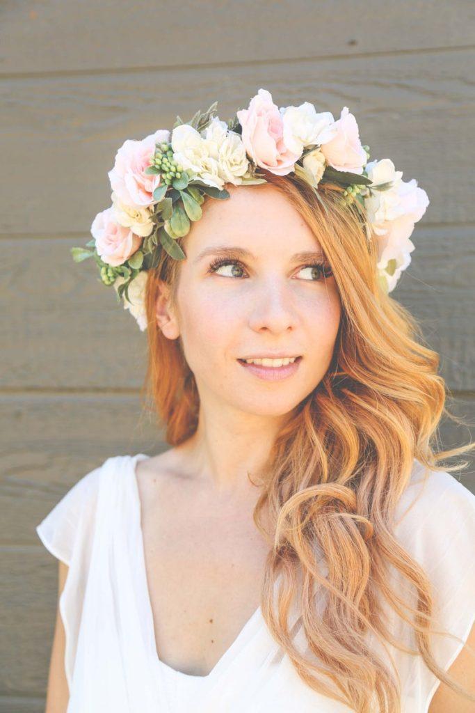 romantic pink spring wedding Flower Crown