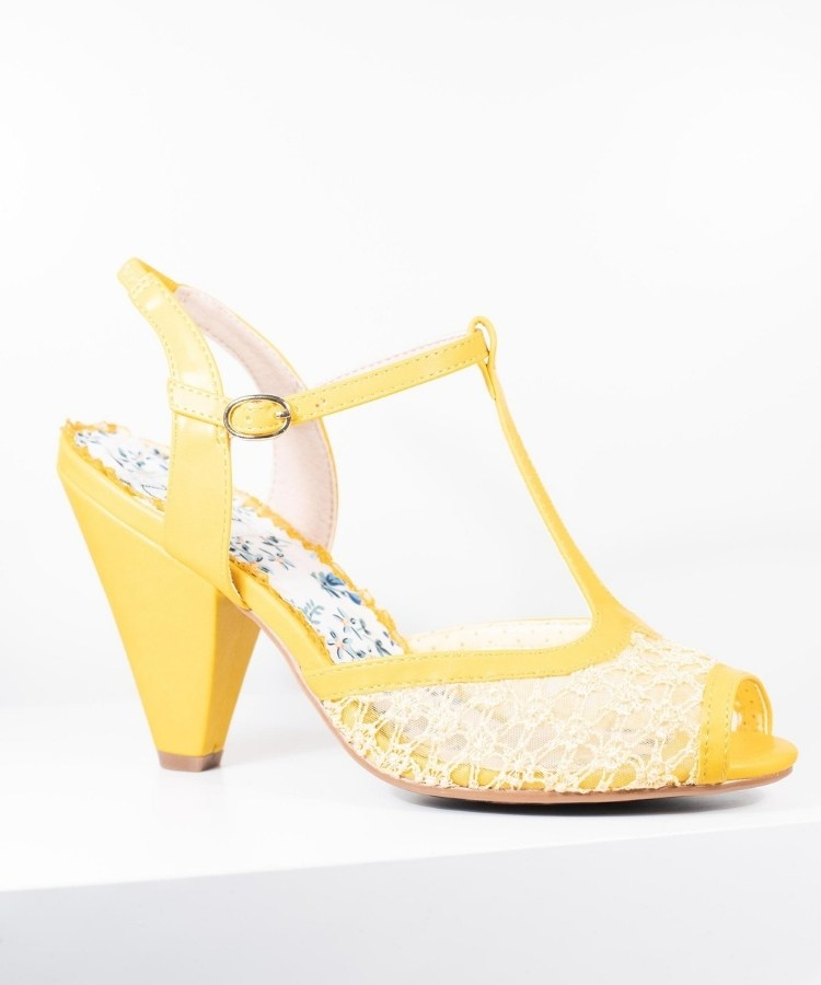 Bold Colored Wedding Shoes, Bettie Page Yellow Lace Brooklyn T-Strap Heels
