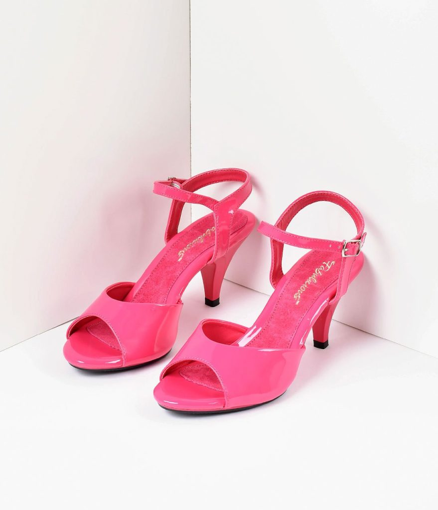 Bold Colored Wedding Shoes, Hot Pink Patent Leather Belle Sandal Pump