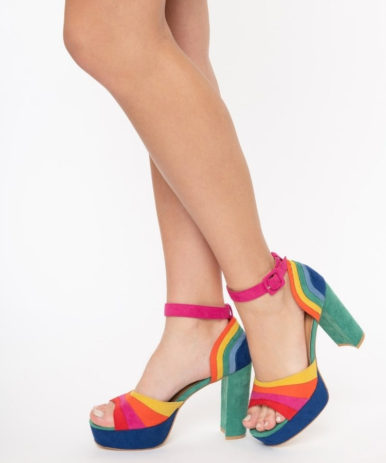 Bold Colored Wedding Shoes, Rainbow Suede Peep Toe Pumps
