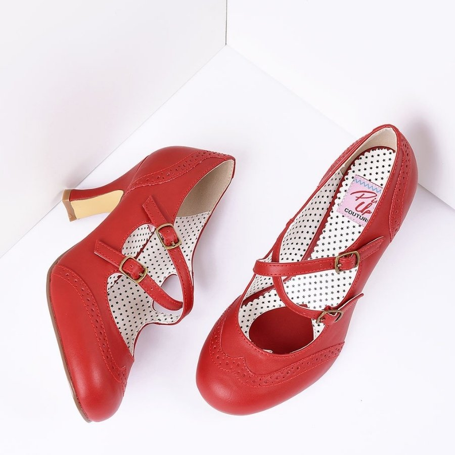 Bold Colored Wedding Shoes, Red Faux Leather Detailed Heel