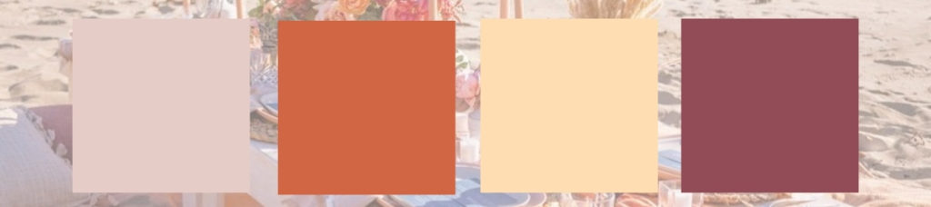 Beach Wedding Table Setting Seaside Bohemian Color palette: Blush pink, ivory, taupe, rust orange, mauve, and wheat yellow.