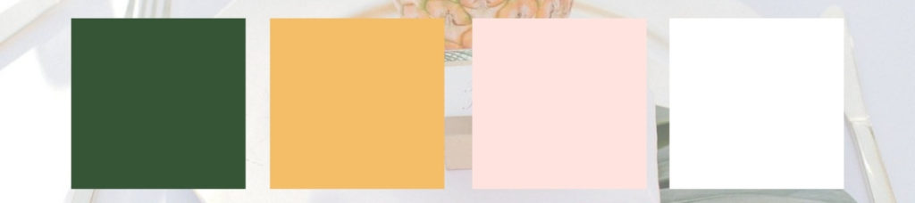 Beach Wedding Table Setting, Tropical Color palette, Green, light pink, oranges, gold, and white.