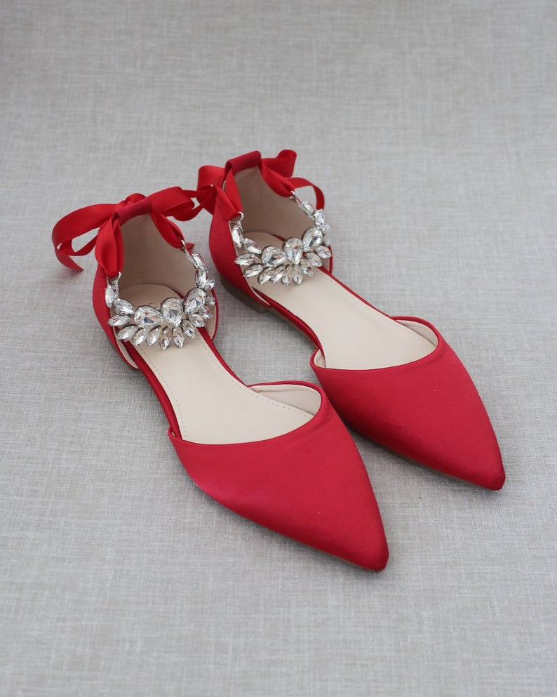 Bold Colored Wedding Shoes, Red Satin Pointy Toe