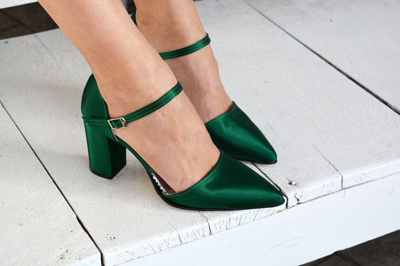 Bold Colored Wedding Shoes,  Emerald Green Wedding Shoes