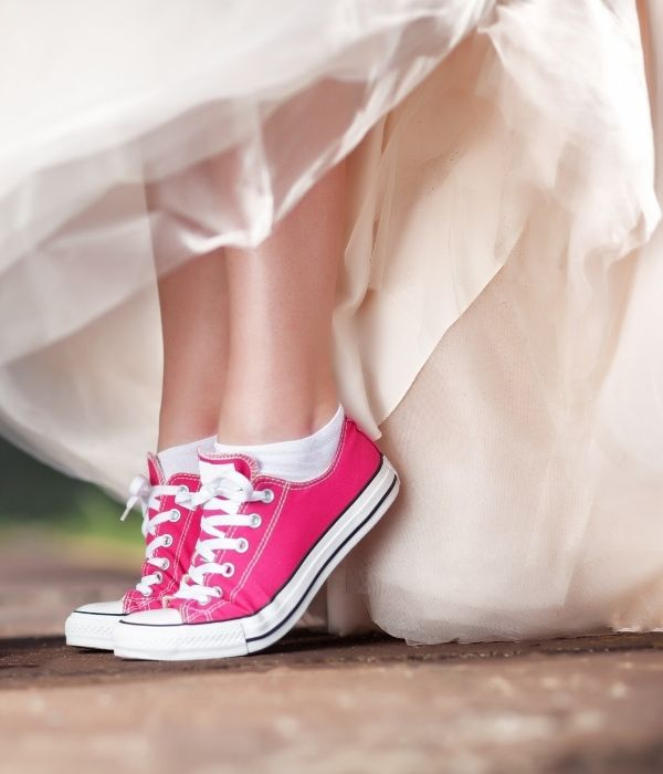Bold Colored Wedding Shoes, Pink Wedding Sneakers