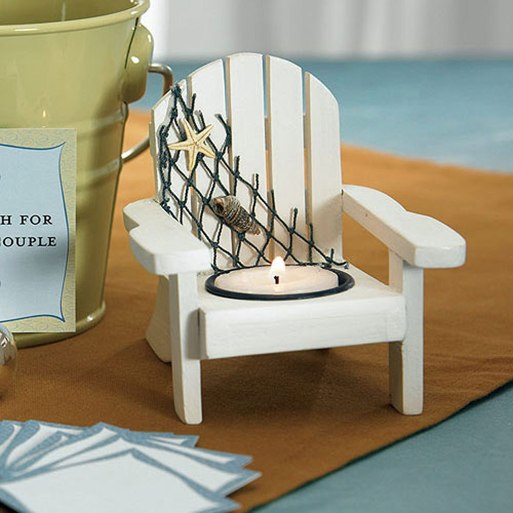 Navy Nautical Wedding Favors, White Deck Chair Favor - Candle Holders