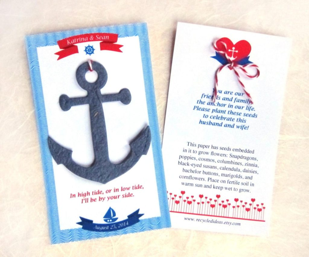 Navy Nautical Wedding Favors,  Personalized Seed Paper Anchors