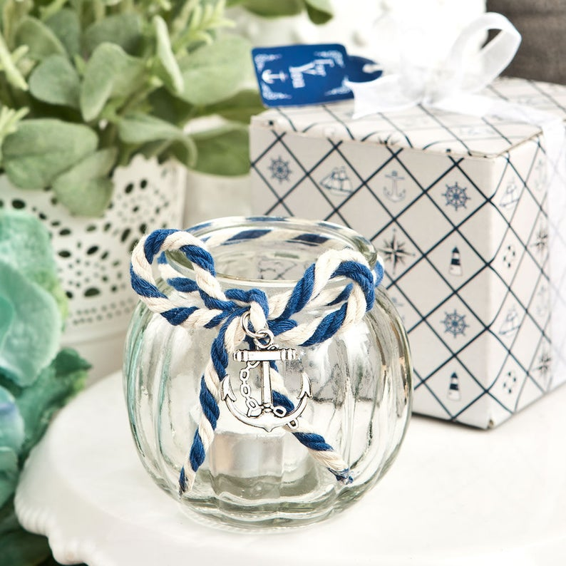 Navy Nautical Wedding Favors,  Nautical Themed Candle