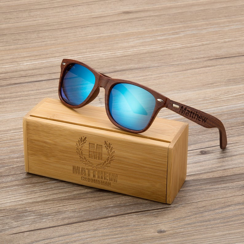 Non-Alcoholic and Useful Gifts Ideas for your Groomsmen Proposal, Groomsmen Engraved Sunglasses and Wooden Box