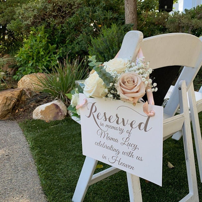Wedding Memorial Chair Sign Reserved