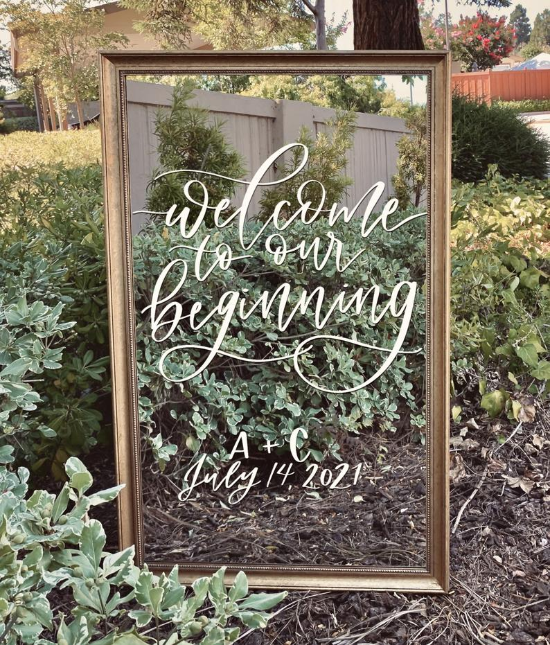 Mirror Wedding Welcome Signs