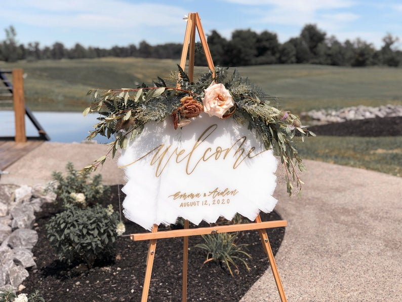 clear acrylic and white color wedding sign